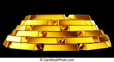 Pure gold: bullions or bars stack isolated over black...