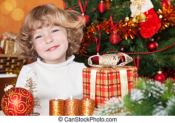 Happy child with gift
