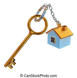 golden keys from the house with charm as symbol of mortgage...