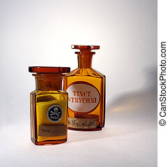 Retro pharmaceutical - Two glassy ancient pharmaceutical...