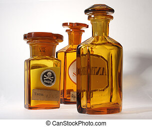 Ancient pharmaceutical - Three glassy ancient pharmaceutical...