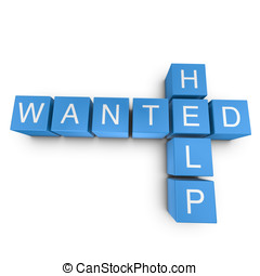 Help wanted 3D crossword on white background