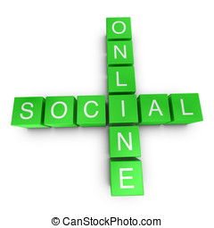 Online and social 3D crossword on white background