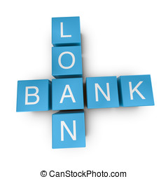 Bank loan 3D crossword on white background