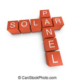 Solar panel 3D crossword on white background