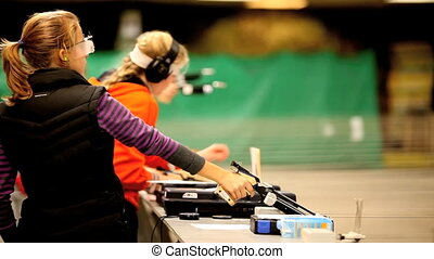 Firing the Air Pistol - shooter firing from the Air Pistol ,...