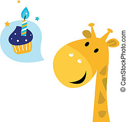 Cute yellow cartoon party giraffe with Candy - Party giraffe...