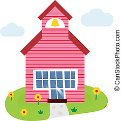 Cartoon school building illustration - Schoolhouse. Vector...