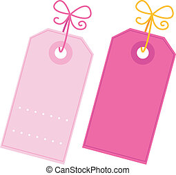 Valentine blank pink tags set isolated on white - Valentine...