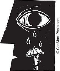 Umbrella Tears - Tears from a profile of a face fall on an...