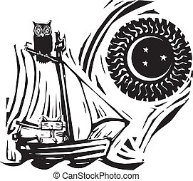 Owl and Pussycat - Owl and cat on a boat under the moon and...