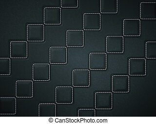 Black Stitched leather background with rhombuses