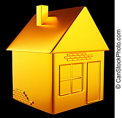 valuable accommodation: golden house shape over black...