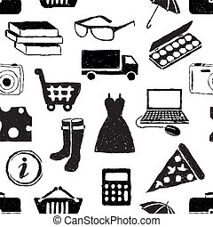 doodle shopping seamless pattern