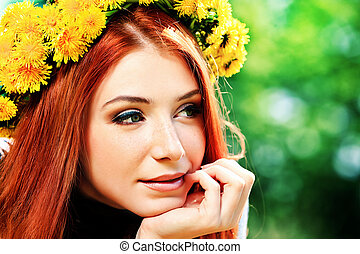 dandelions - Portrait of a romantic young woman in a circlet...