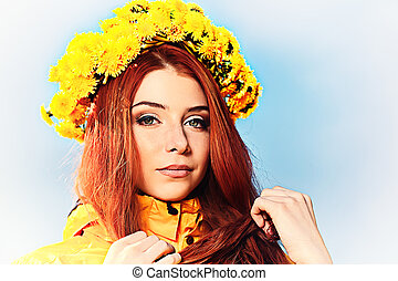blue yellow - Portrait of a romantic young woman in a...