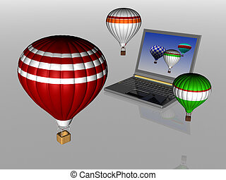 Hot air balloons take off from the screen of laptop Unity 3d...