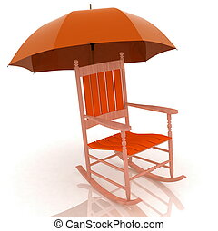 old rocking chair with an umbrella - old rocking chair with...