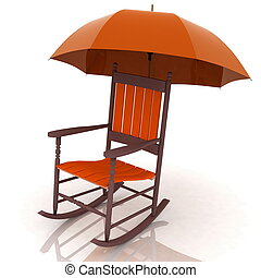 old rocking chair with an umbrella isolated on white...