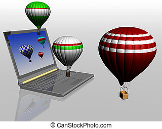 Hot air balloons take off from the screen of laptop. Unity...