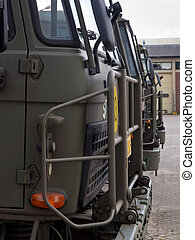 European army trucks - Army trucks lined up in formation