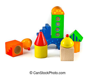 abstract city wooden building blocks
