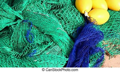 Fisherboat trawler nets blue green - Fisherboat trawler nets...