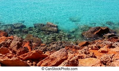 beautiful rocky beach in ibiza - beautiful rocky beach in...