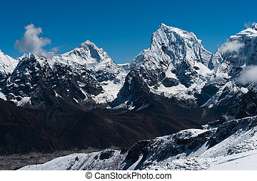 Makalu, Cholatse summits viewed from Renjo Pass - Makalu,...