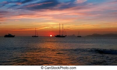 biza sea sunset view from island - biza sea sunset view from...