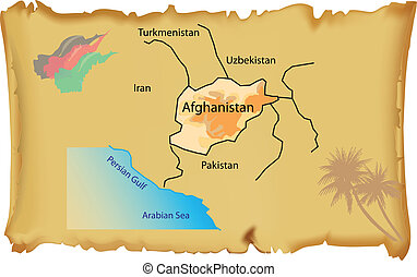 Map of Afghanistan on an old parchment Vector illustration