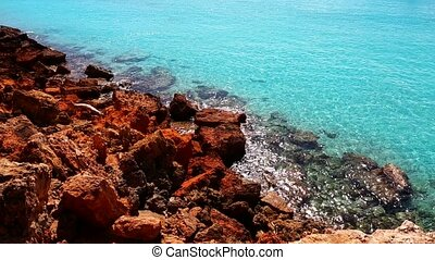 beautiful rocky beach in island - beautiful rocky beach in...