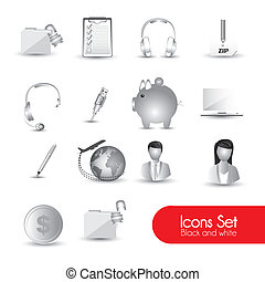 set of gray icons