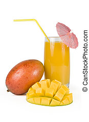 Fresh mango and glass of mango juice - Fresh, juicy,...