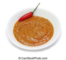 Red Curry Paste - Thai Red Curry Paste in white dish...