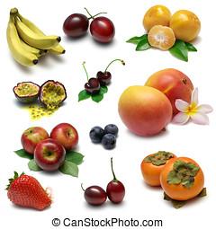 Fruit Sampler - Various fresh fruits. From top left: banana,...
