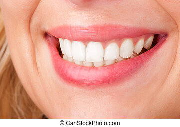Womans Lips Smiling - Smiling womans mouth with great white...
