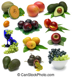 Fruit Sampler - Various fresh fruits. From top left:...