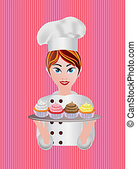 Woman Pastry Chef Illustration - Woman Pastry Chef with...