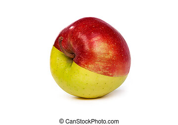 An apple made from half green and half red - An apple made...
