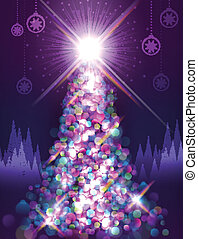 Brightly lit tree - Brightly lit up christmas tree at night