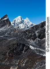 Mountain range scene viewed from Renjo pass in Himalaya