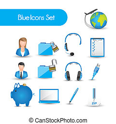 set of blue icons