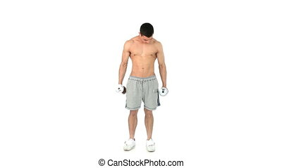 Man lifting dumbbells against a white background
