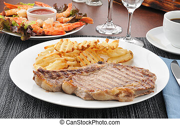 Rib steak with shrimp