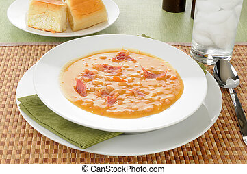 Bean soup with dinner rolls