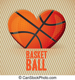 basketball heart - illustration of basketball heart on a...