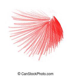cor, lápis, desenhos, vermelho
