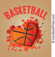 basketball heart - illustration of basketball heart of blue...