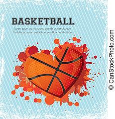 basketball heart - illustration of basketball heart of blue...